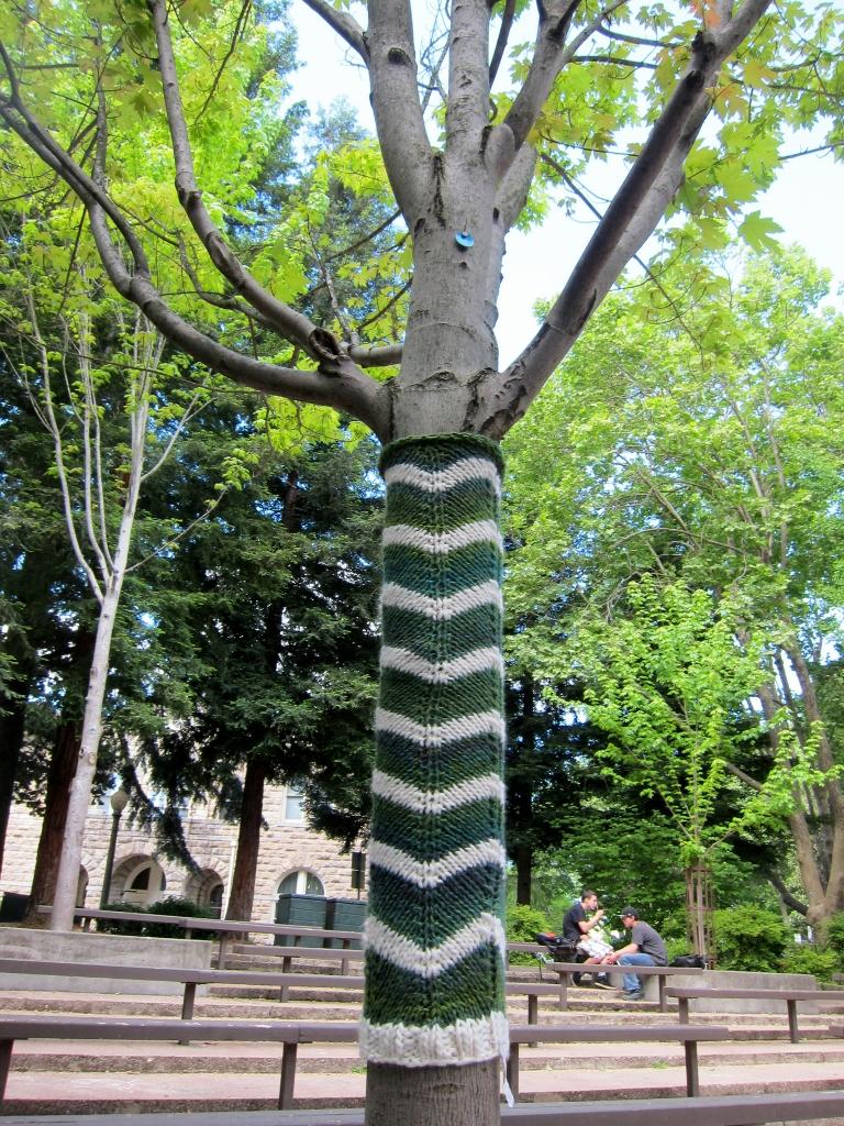 Yarn bomb at amphitheatre in Sonoma Plaza