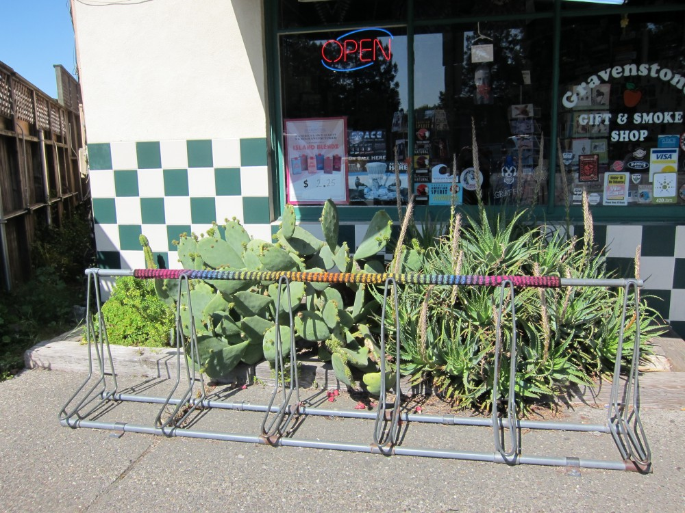 Bike rack in front of Gravenstone's