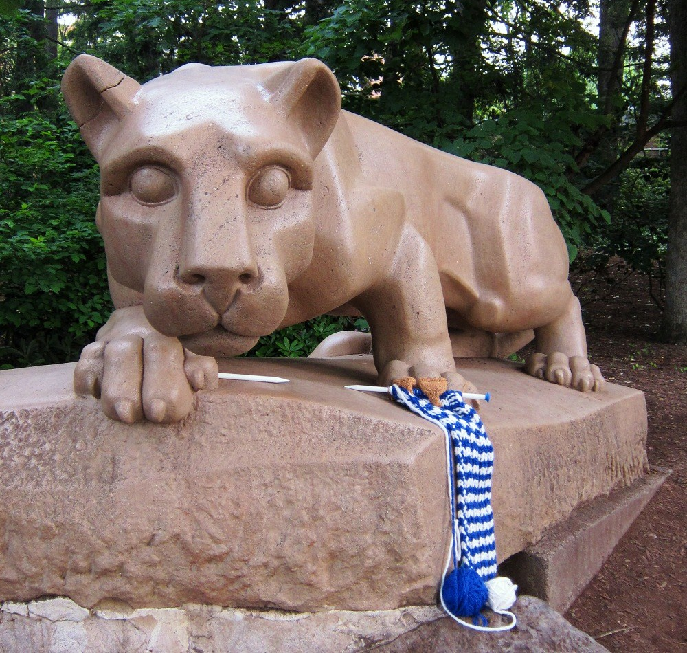 The Nittany Lion learns to knit