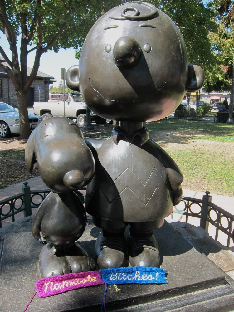 Snoopy statue, Railroad Square, Santa Rosa, CA - Namaste, Bitches!